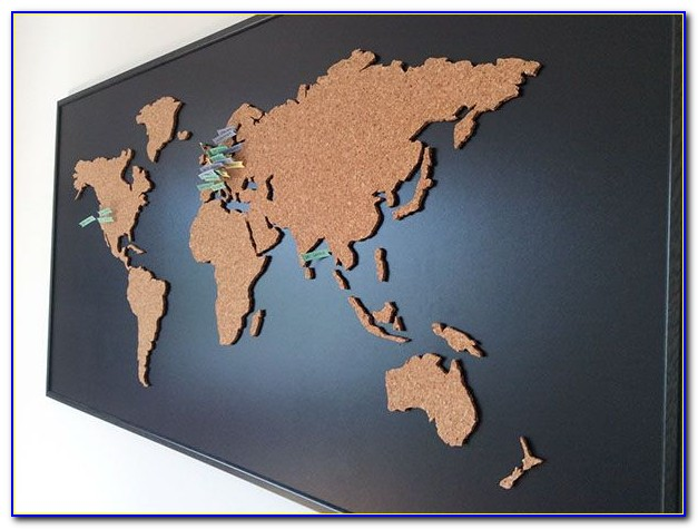 Map Of The World Mounted On Cork Board