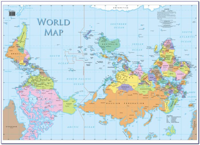 Map Of The World Upside Down Poster