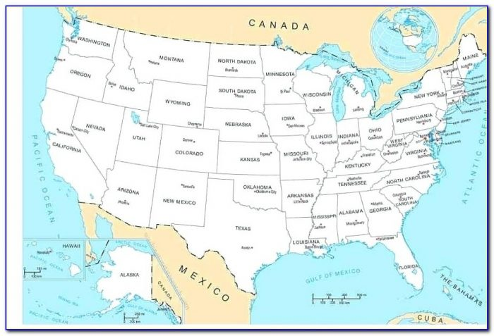 Map Of United States With State Capitals And Major Cities