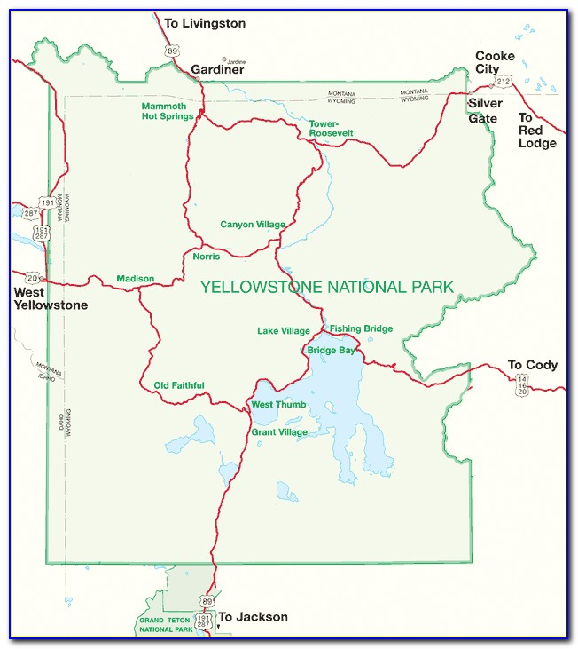 Map Of Yellowstone Hotels