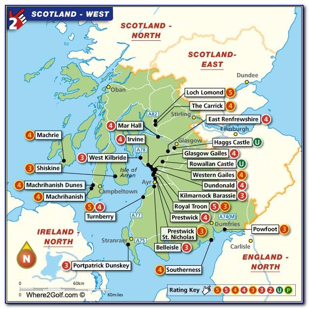 Map Scotland Famous Golf Courses