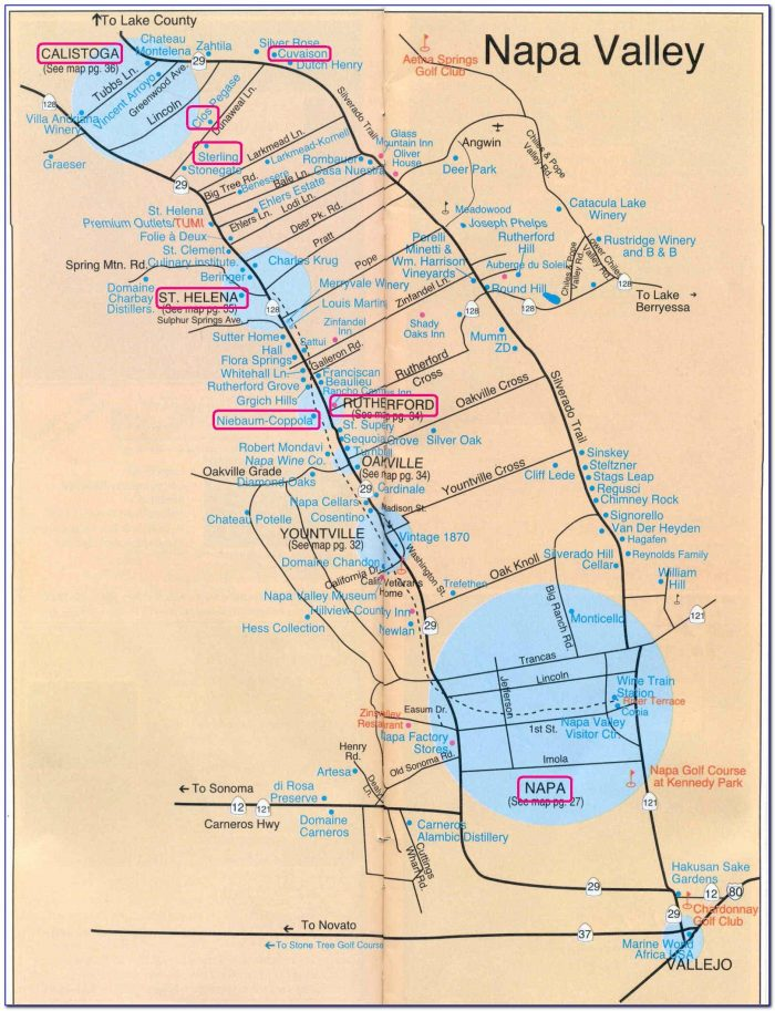 Maps Napa Valley Ca