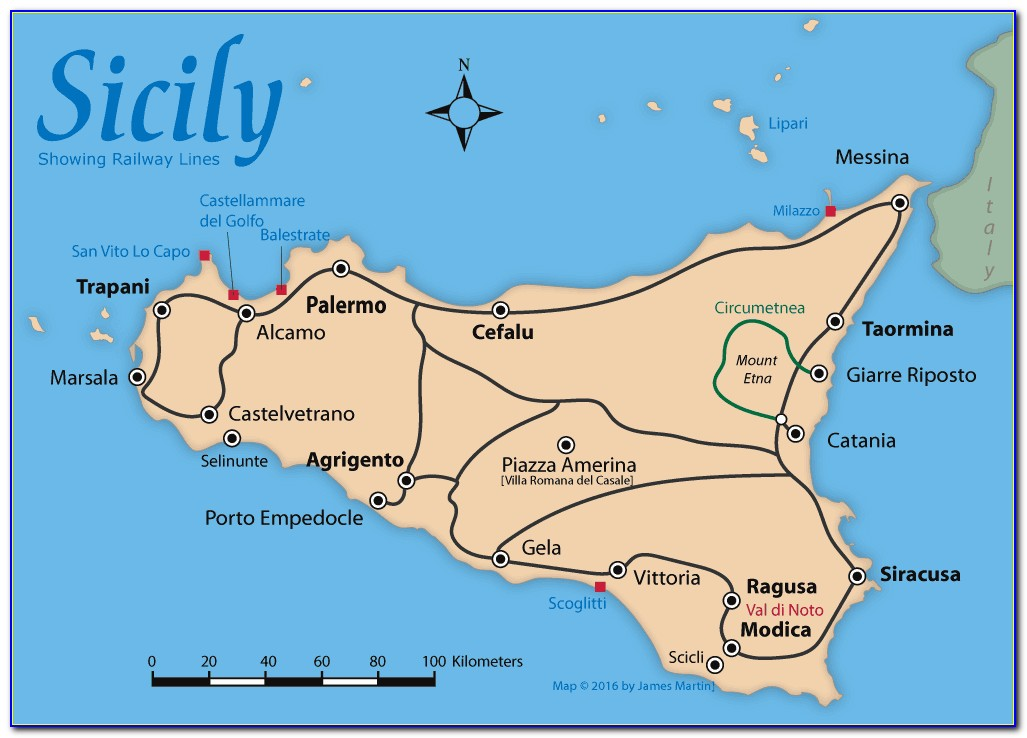 Maps Of Sicily With Distances
