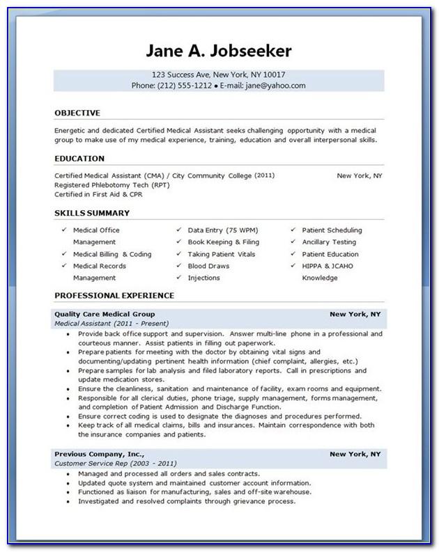 Medical Assistant Resume Templates Downloads