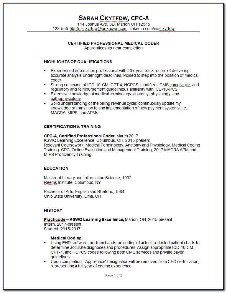 Medical Billing And Coding Resume Cover Letter