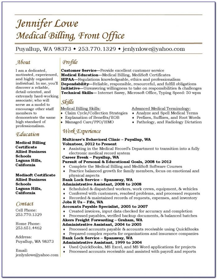 Medical Billing And Coding Resume Qualifications