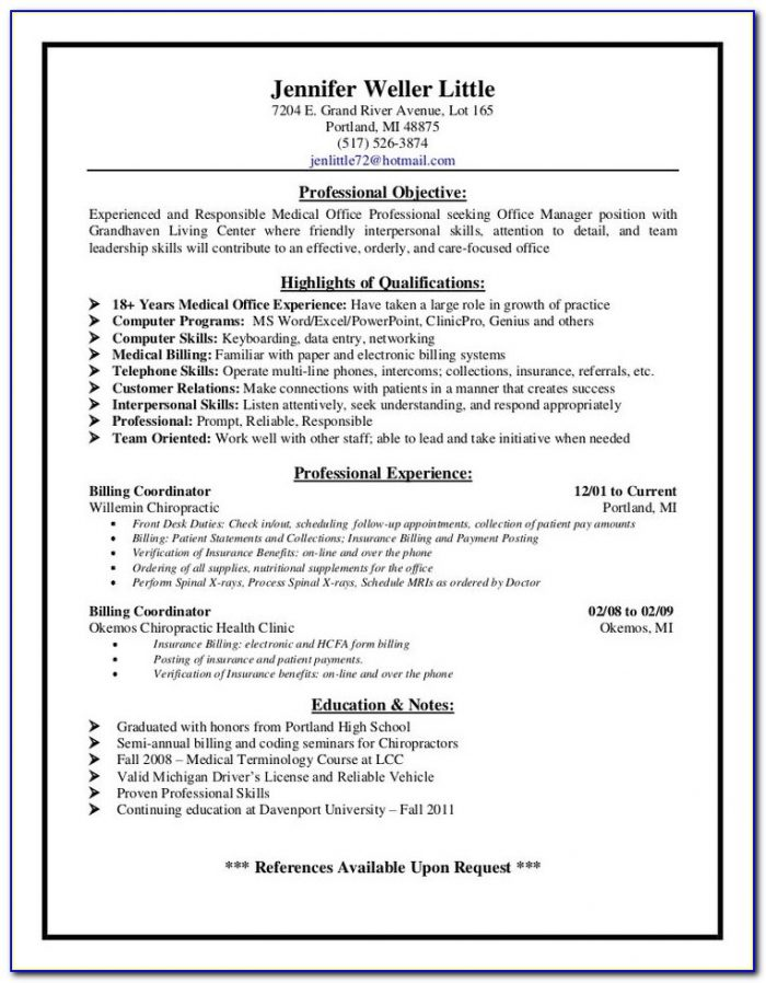 Medical Billing And Coding Specialist Resume