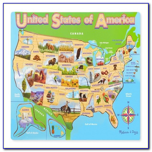 Melissa And Doug Deluxe Wooden Usa Map Puzzle