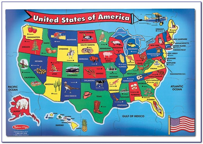 Melissa And Doug Usa Map Wooden Jigsaw Puzzle