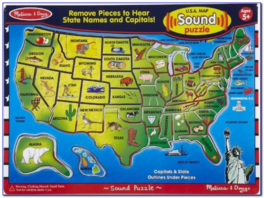 Melissa And Doug Wooden Usa Map Puzzle