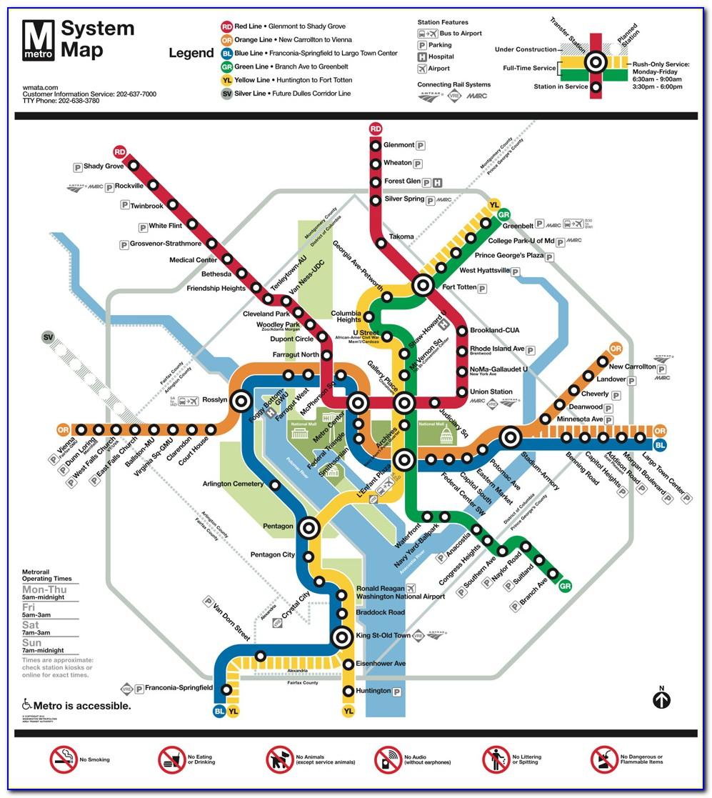 Metro Map Wash Dc