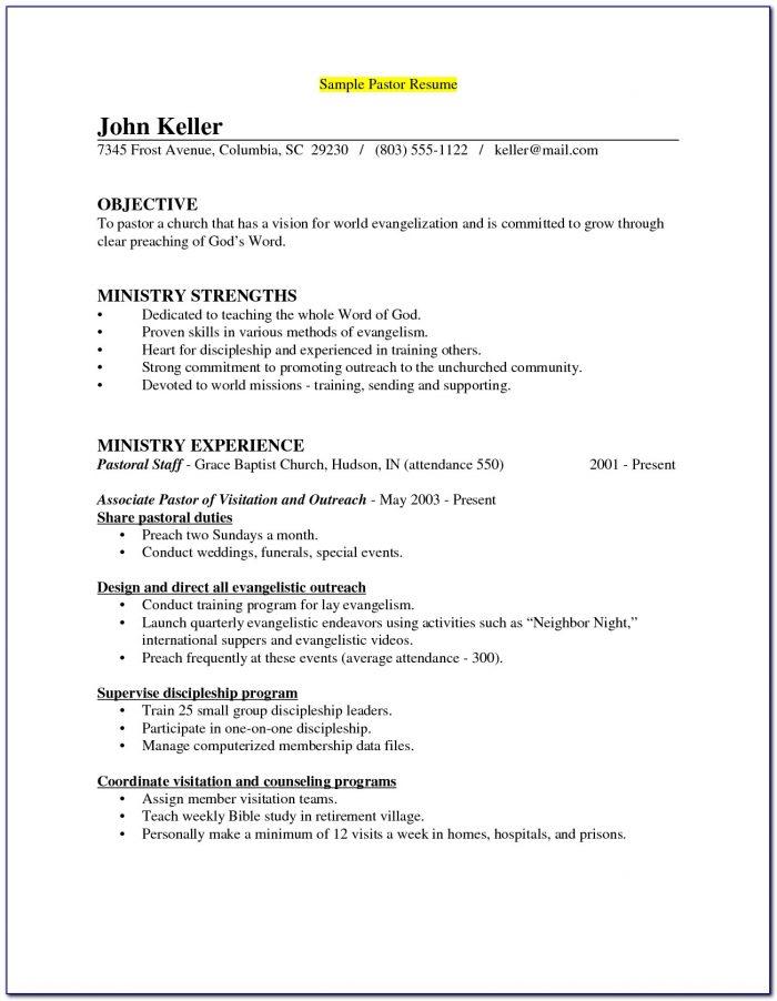 Ministry Resume Templates For Word