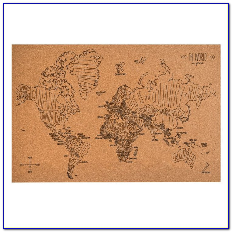 Mount Map On Cork Board