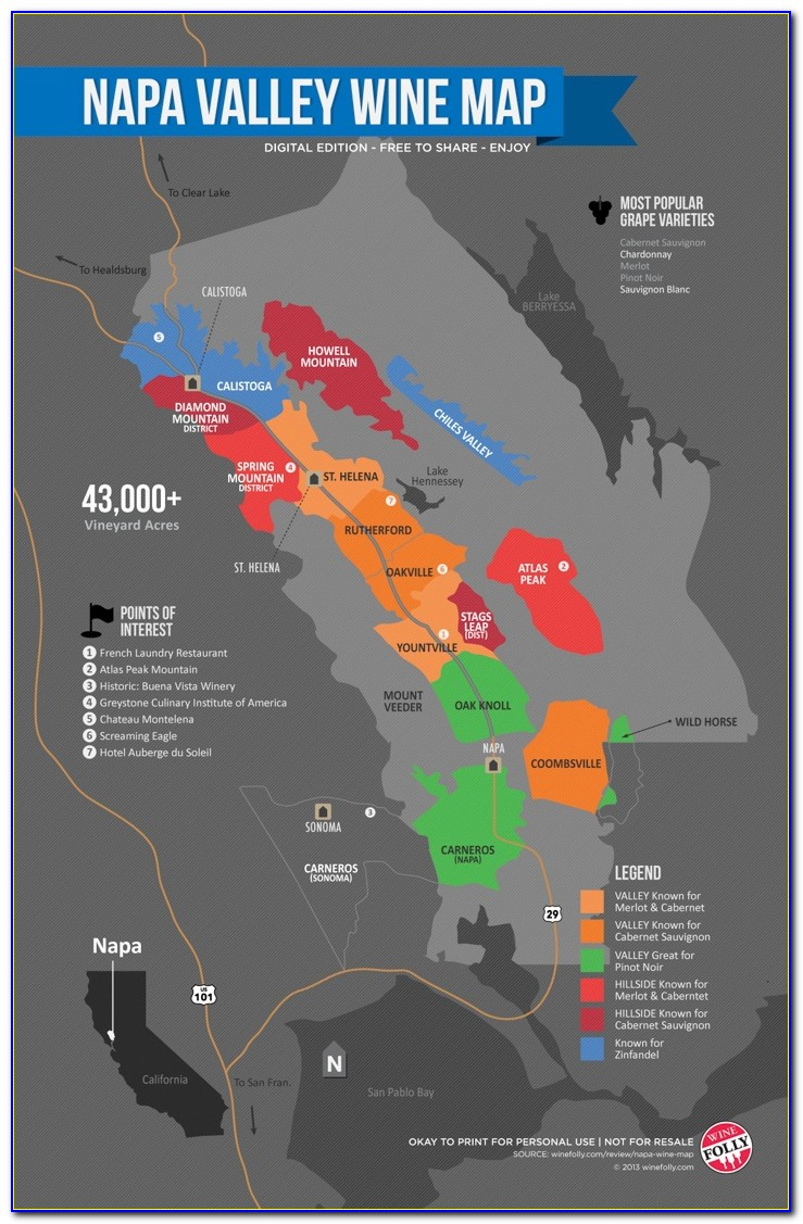 Napa Valley Wineries And Hotels Map