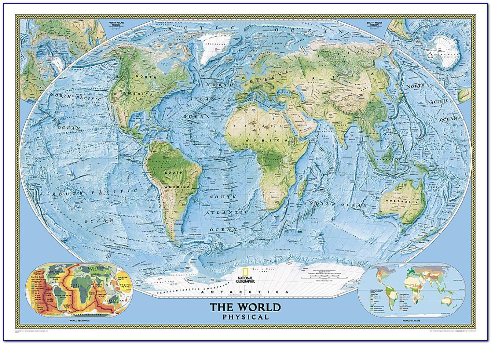 National Geographic World Ocean Floor Map