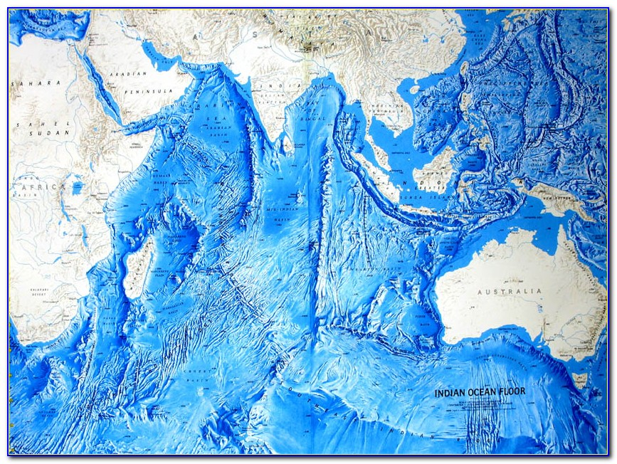 National Geographic World Physical Ocean Floor Map