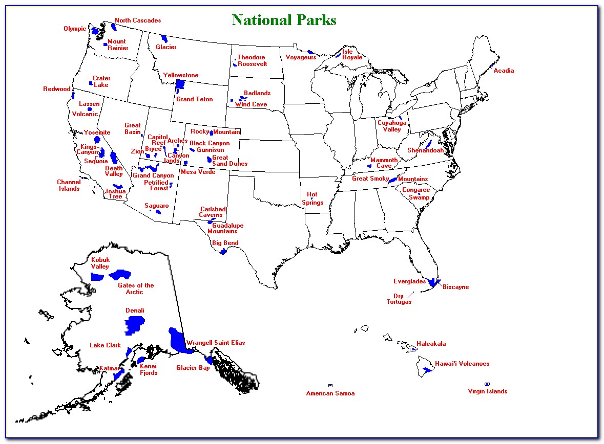 National Parks Of North America Map