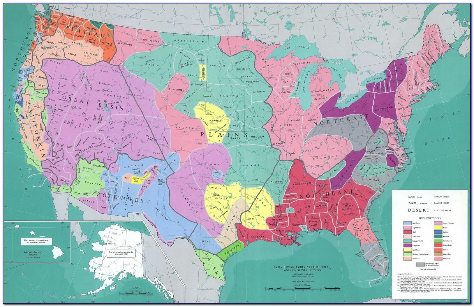 Native American Regions Of North America Map Key