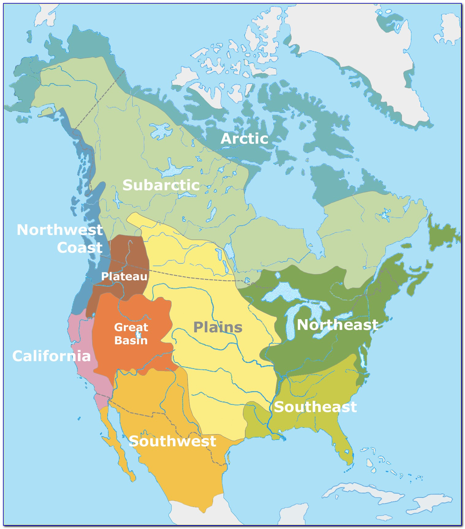 Native Tribe Map Of North America