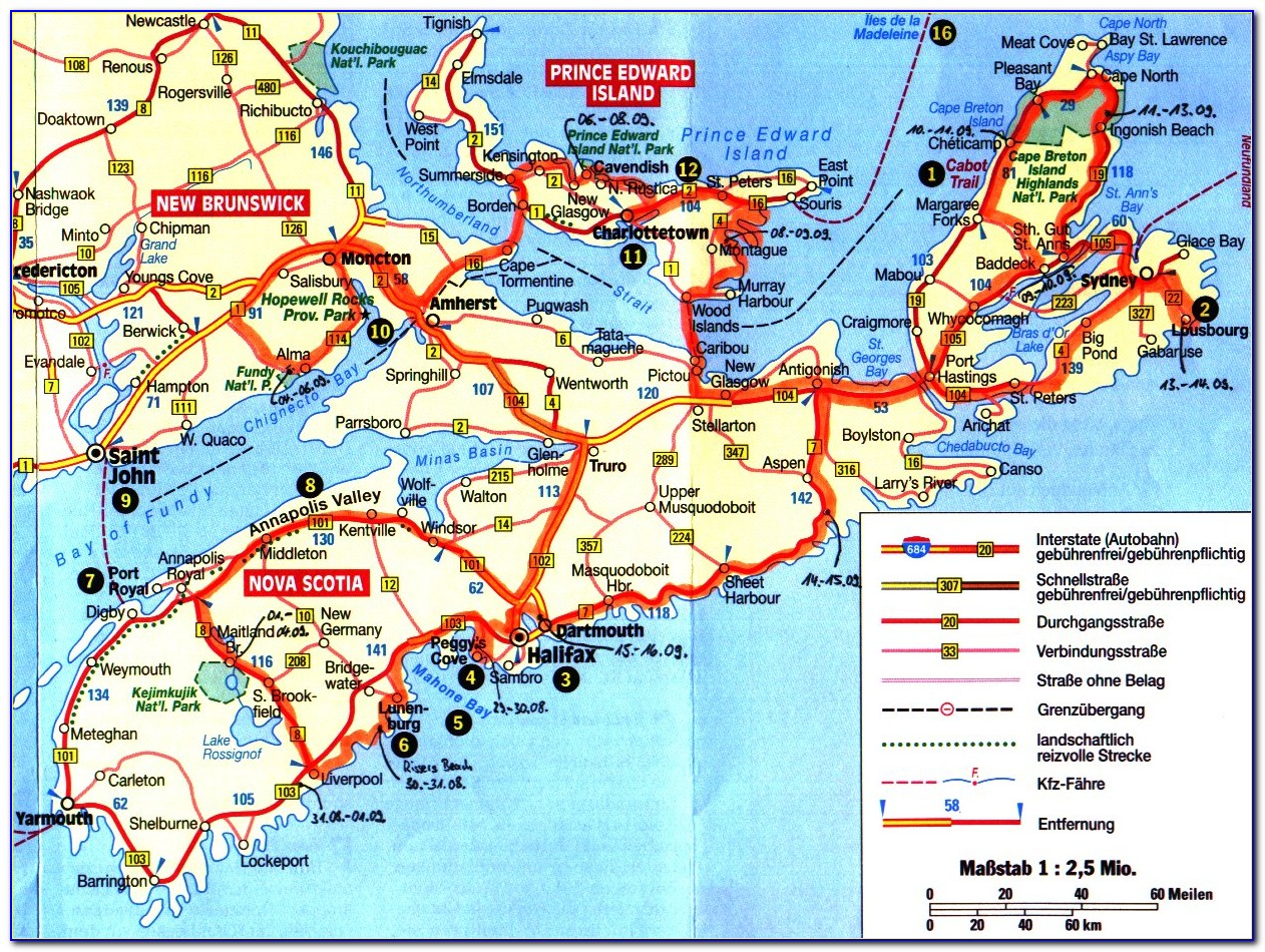 New Brunswick Nova Scotia Pei Map
