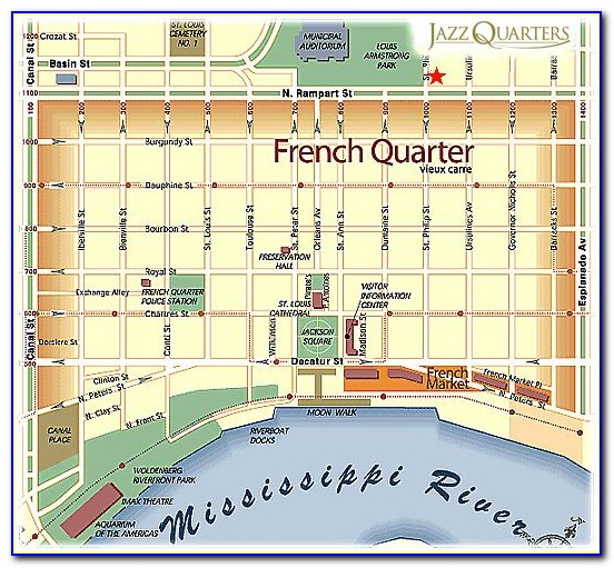New Orleans French Quarter Hotels Map