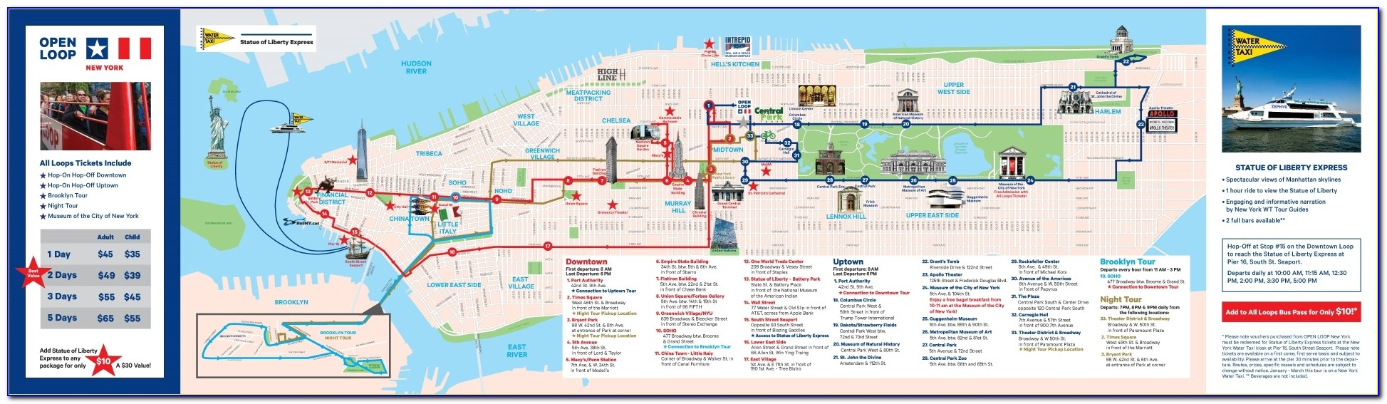 New York City Hop On Hop Off Bus Map