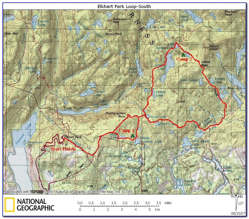 Northern Wind River Range Hiking Map And Guide