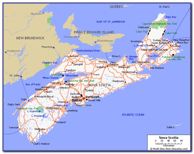 Nova Scotia Map Driving Times