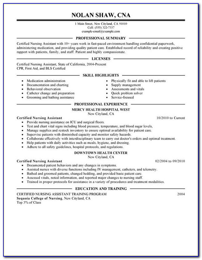 Nursing Assistant Cv Template