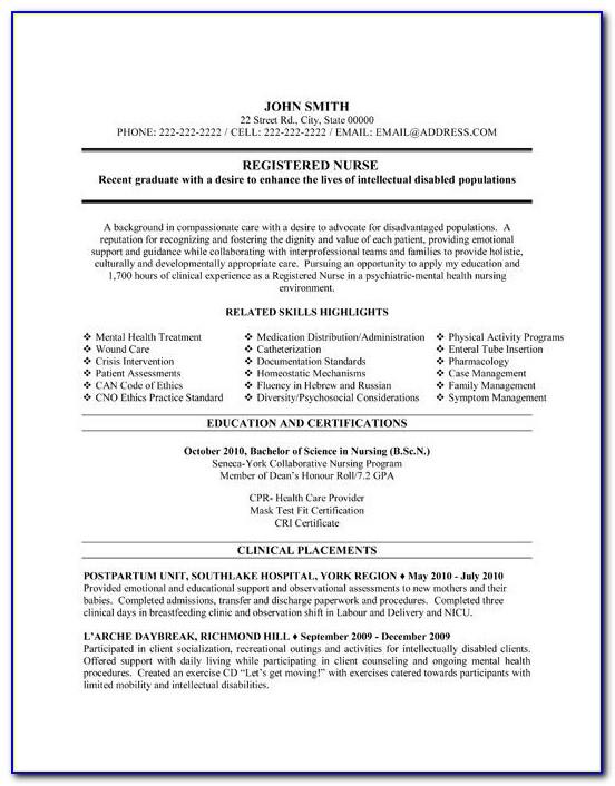 Nursing Resume Template Canada