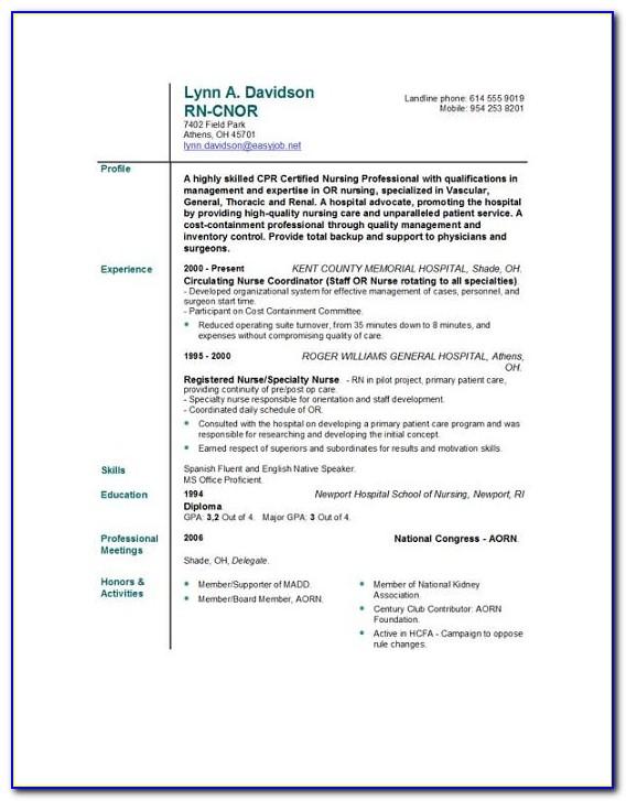 Nursing Resume Template Download