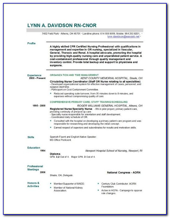 Nursing Resume Templates For Microsoft Word