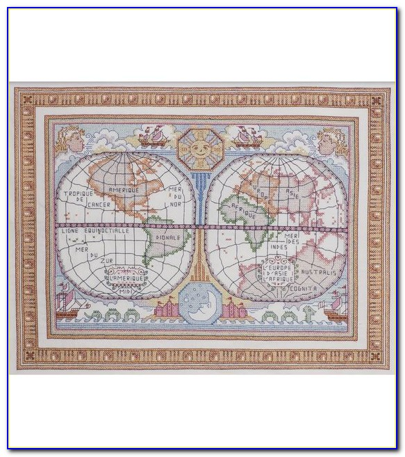 Old World Map Cross Stitch Kit