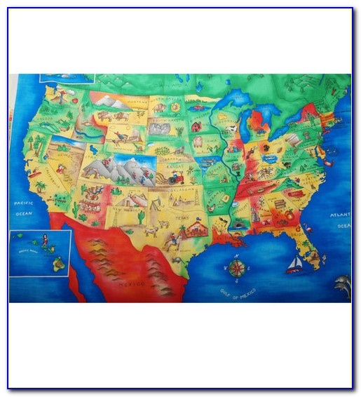Old World Map Fabric Panel