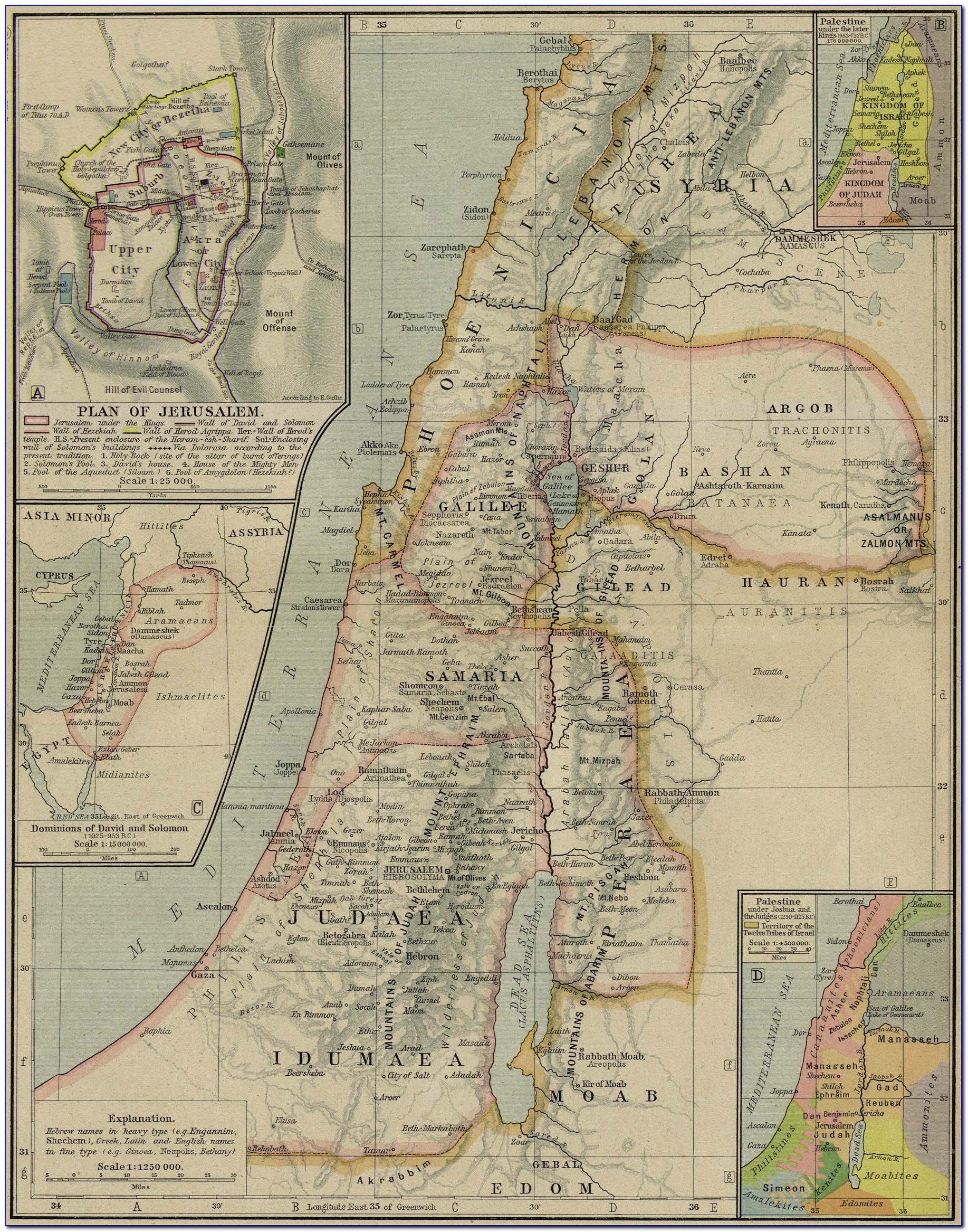 Old World Map Of Palestine