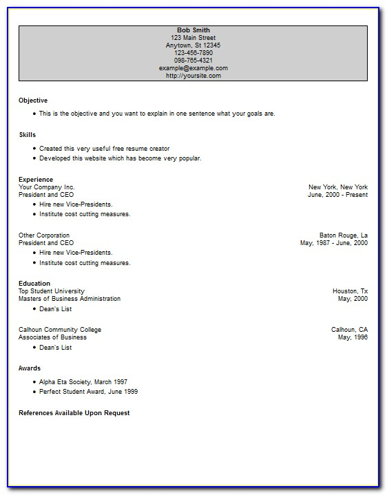 Online Resume Creator For Freshers Free