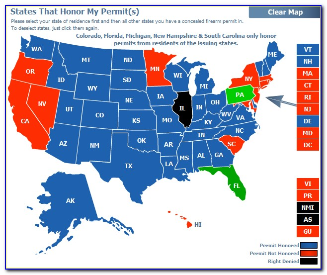 Pa Concealed Carry Permit Reciprocity Map