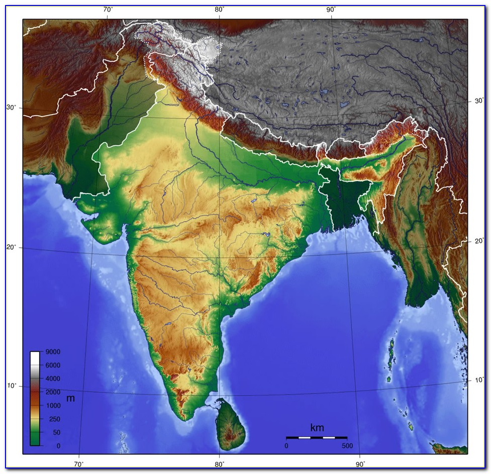 Picture Of Topographic Map Of India