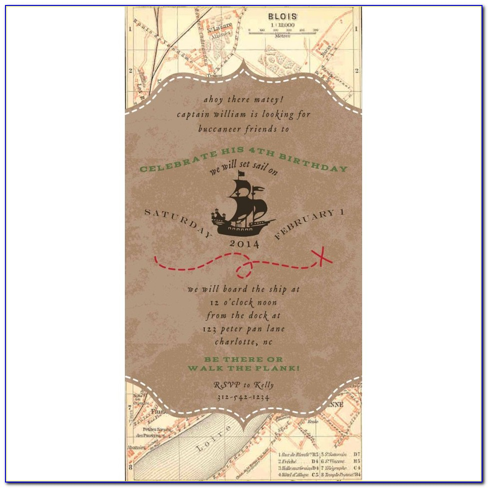 Pirate Treasure Map Invitation Template