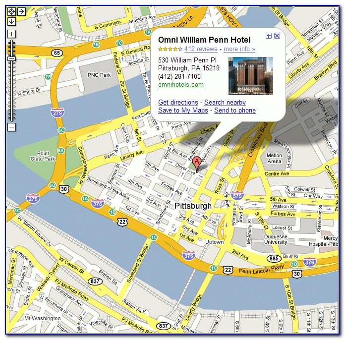Pittsburgh Hotels Downtown Map