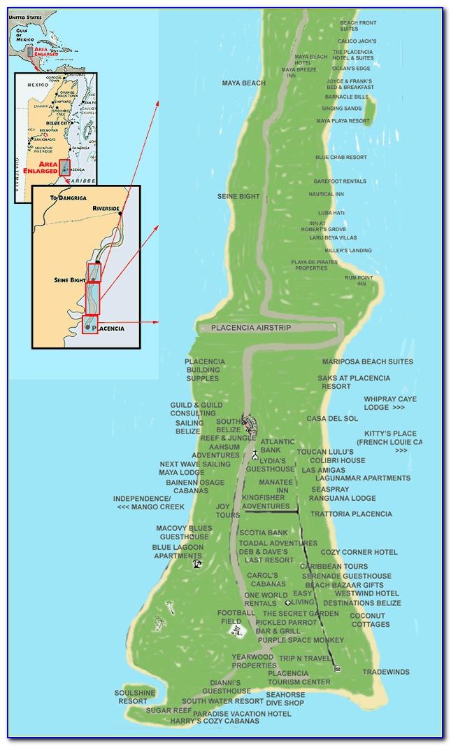 Placencia Belize Hotels Map