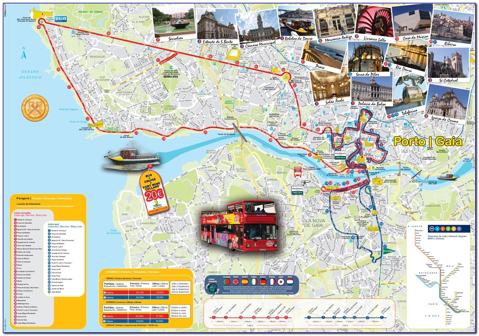Porto Hop On Hop Off Yellow Bus Map