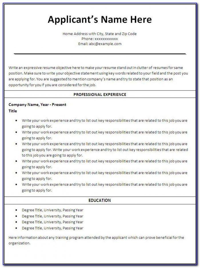 Printable Resume Template