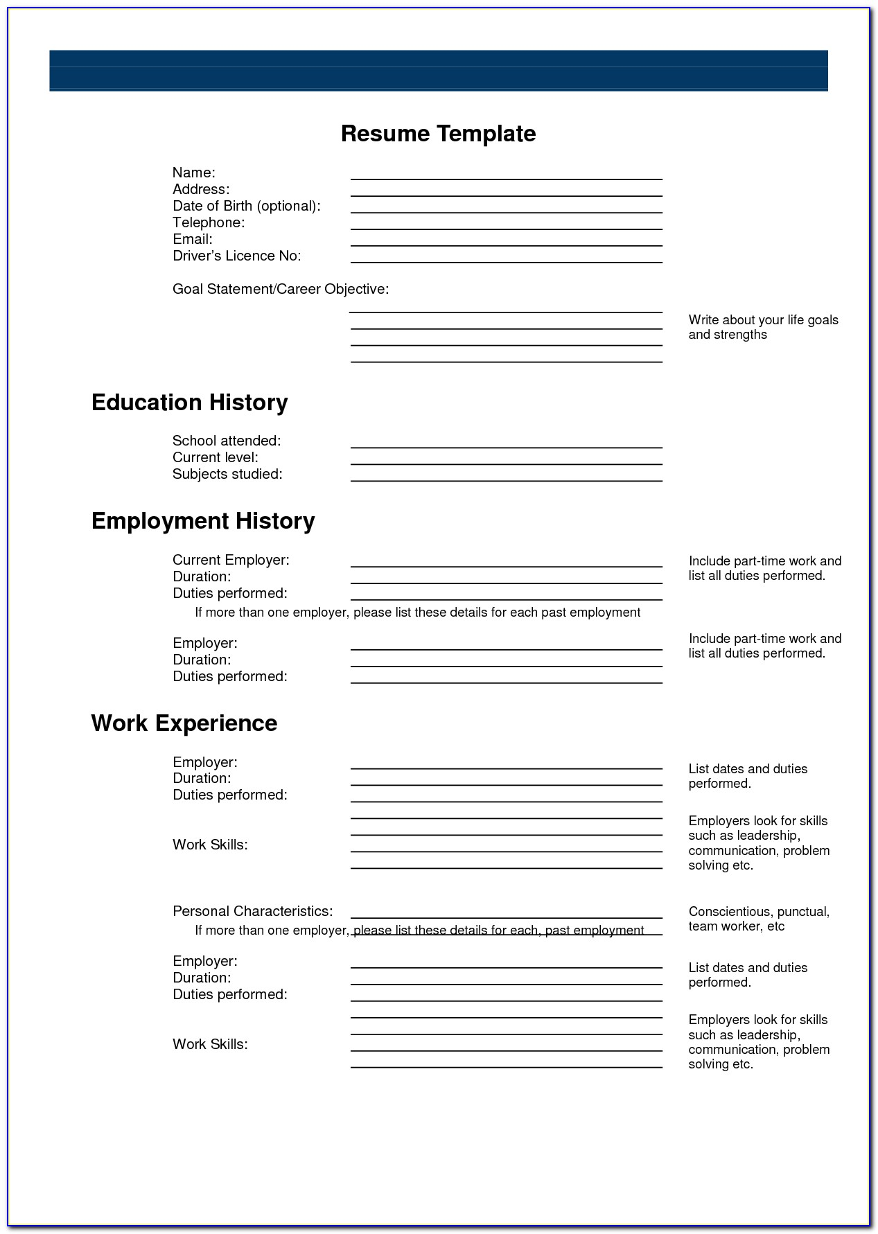Printable Resume Template Blank