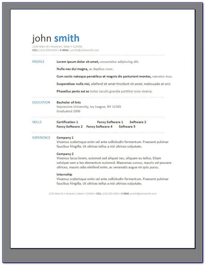 Printable Resume Template Pdf