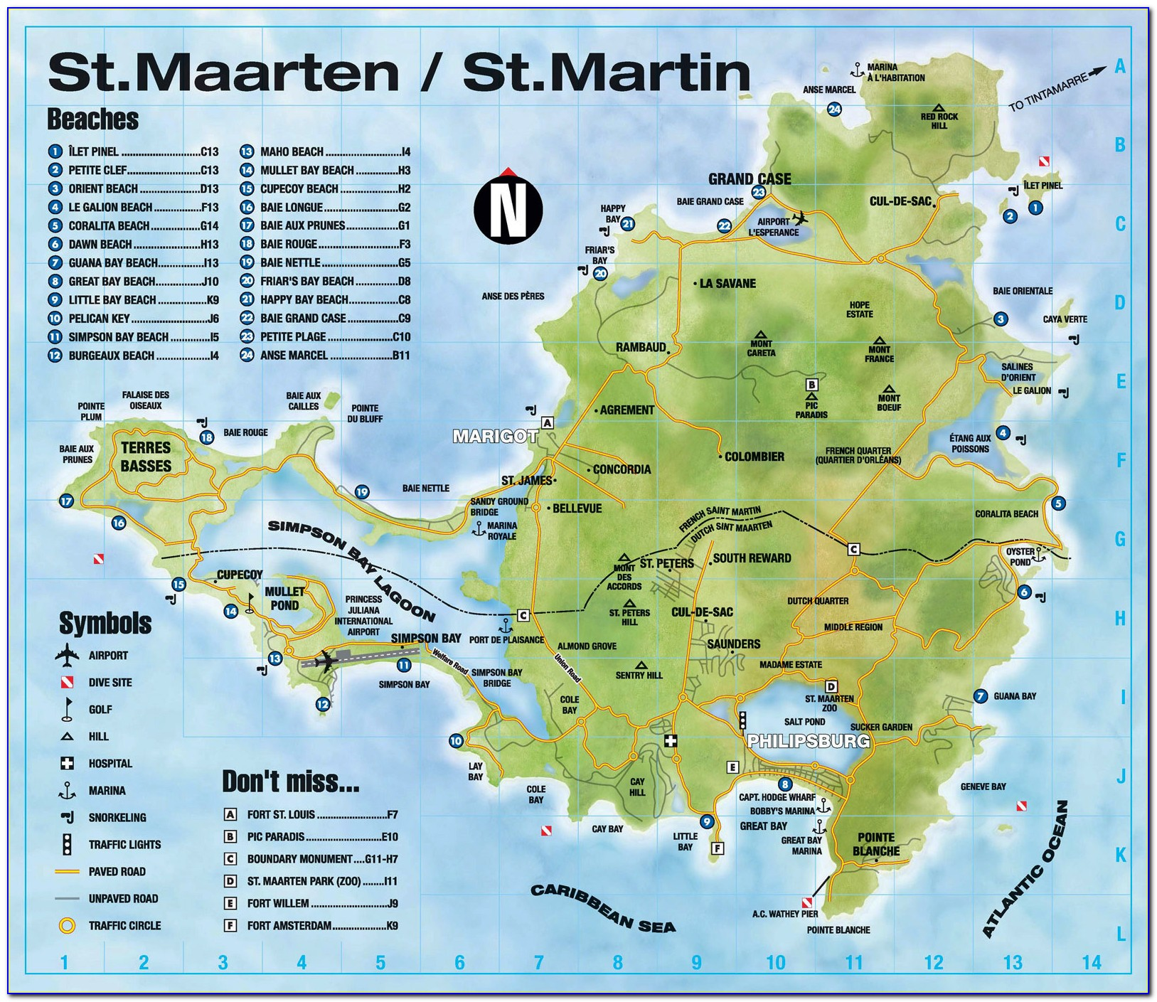 Printable Road Map Of St Maarten