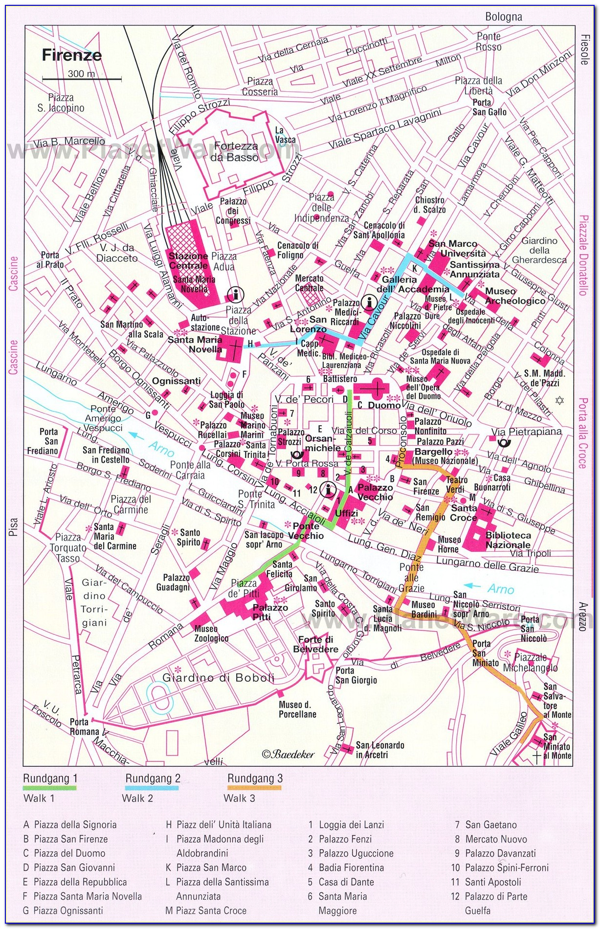 Printable Walking Map Of Florence Italy