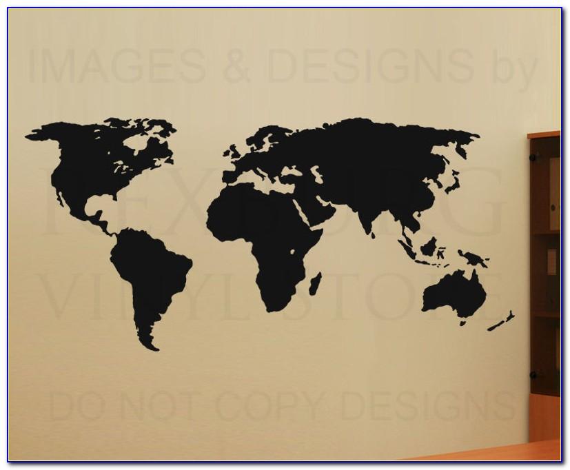Printed World Map Vinyl Wall Sticker