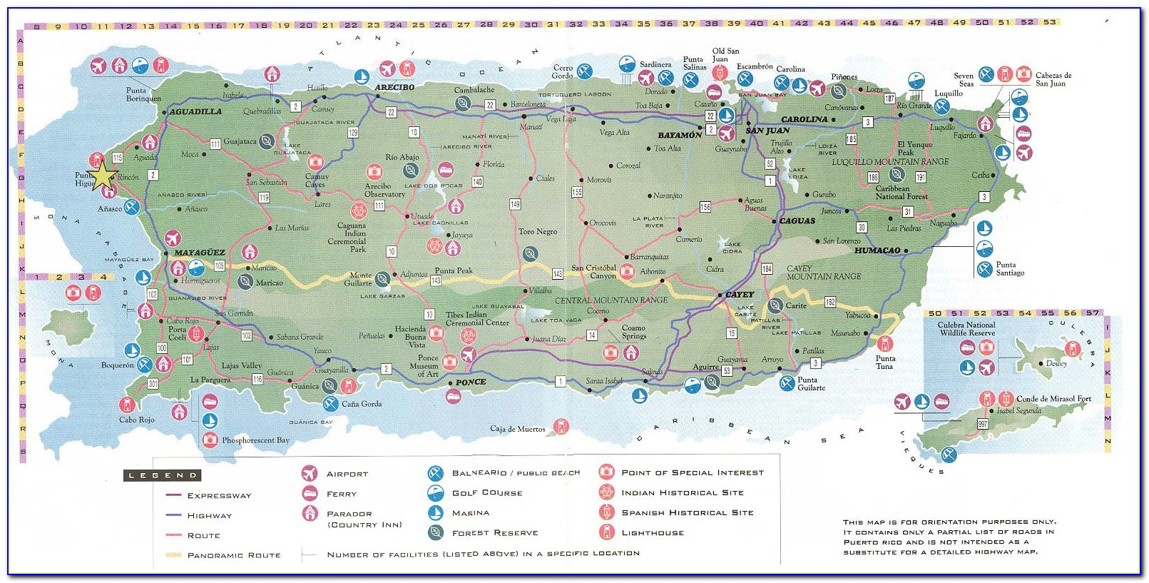 Puerto Rico Road Map Detailed