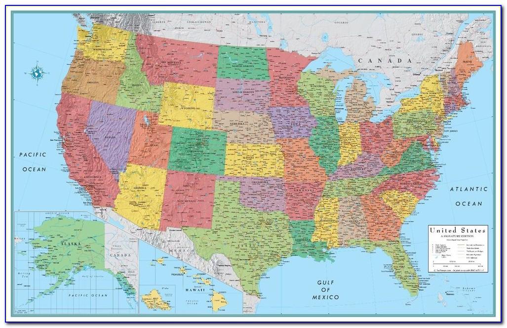 Rand Mcnally Laminated World Wall Map 50 X 32